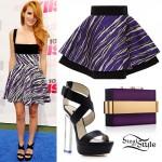 Bella Thorne: Zebra Dress, Clear-Heeled Shoes