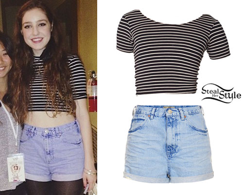 Birdy: Striped Crop Top, Denim Shorts
