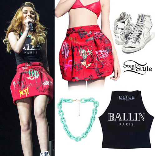 Cher Lloyd: Graffiti Skirt, Ballin Paris Top