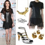Cher Lloyd: Leather Dress, Metallic Sandals