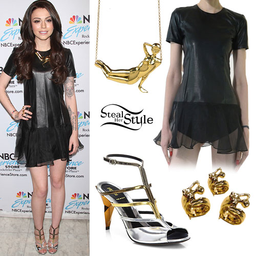 Cher Lloyd: Leather Dress, Metallic Sandals