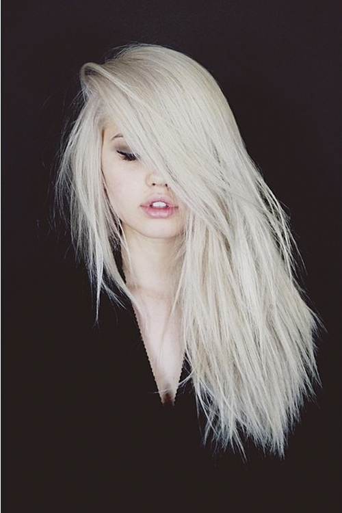 Debby Ryan Straight Platinum Blonde Choppy Layers Side