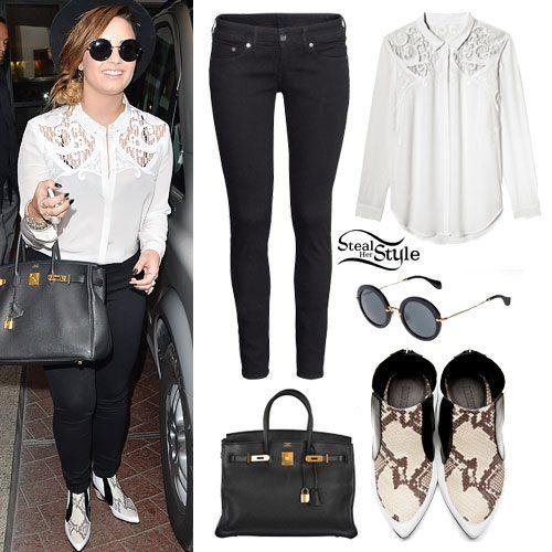Demi Lovato: Baroque Shirt, Snakeskin Boots