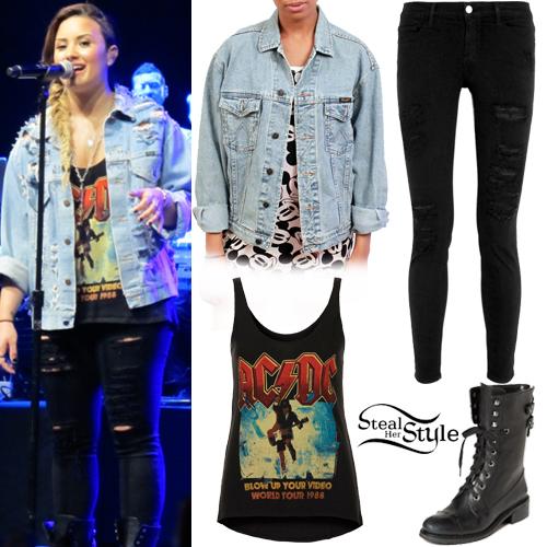 Demi Lovato Denim Jacket Black Leggings Steal Her Style