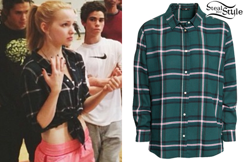 Dove Cameron: Green Flannel Shirt Steal Her Style