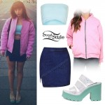 Foxes: Pink Bomber, Denim Wrap Skirt