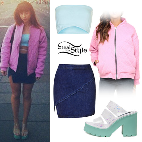 Foxes: Pink Bomber, Denim Wrap Skirt