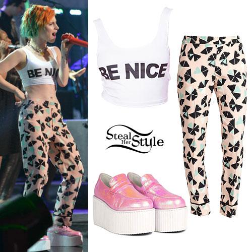 Hayley Williams: Be Nice Top, Pink Print Pants