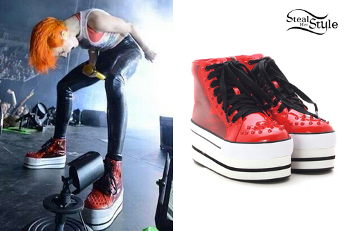 hayley williams red spike platform sneakers steal her style