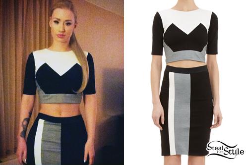 Iggy Azalea: Colorblock Crop Top & Skirt