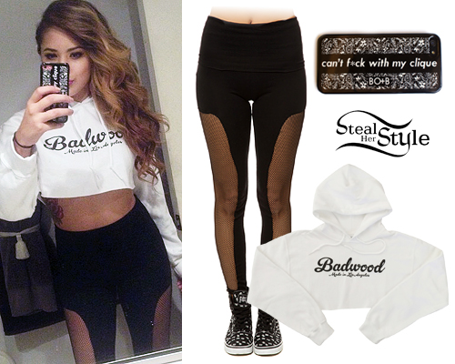 Jasmine Villegas: Badwood Hoodie, Fishnet Leggings