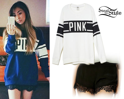 Jessica Sanchez: Varsity Sweater, Lace Shorts