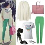 Jessie J: Oversize Cardigan, Green Pants