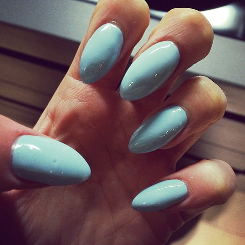 Light Blue Acrylic Nails Squoval