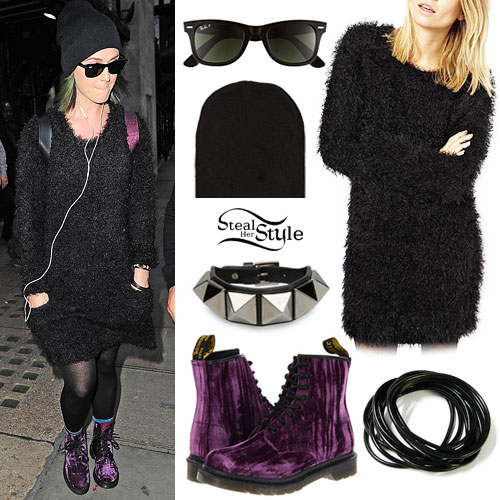 Katy Perry: Fuzzy Dress, Purple Velvet Boots
