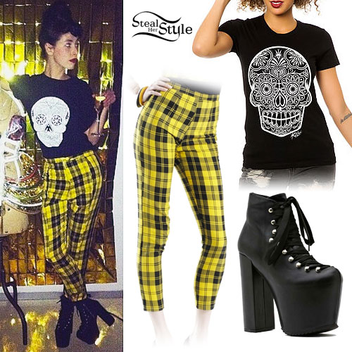 Kimbra: Yellow Plaid Pants, Platform Boots