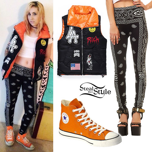 Kreayshawn: Puffer Vest, Orange Converse