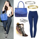 Madison Beer: Blue Bag, Wedge Sneakers