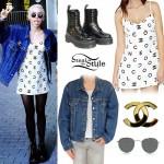 Miley Cyrus: Chanel Dress, Denim Jacket