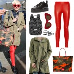 Miley Cyrus: Red Leggings, Green Coat