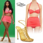 Nicki Minaj: Pink Ruched Bikini, Gold Sandals