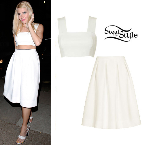 Pixie Lott: White Bralet & Pleated Midi Skirt