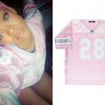Rihanna: Pink Athletic Jersey