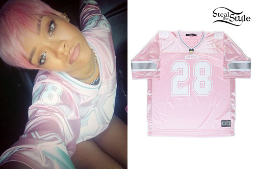 Rihanna: Pink Athletic Jersey
