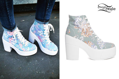 Rydel Lynch: Floral Lace-Up Platform Boots