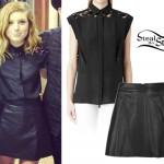 Sydney Sierota: Lace Bouse, Leather Skirt