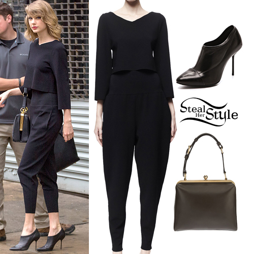 Taylor Swift: Black Pants & Crop Top Outfit | Steal Her Style