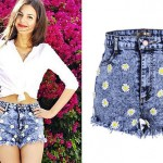 Victoria Justice: Daisy Acid Denim Shorts