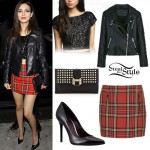Victoria Justice: Tartan Skirt, Leather Jacket