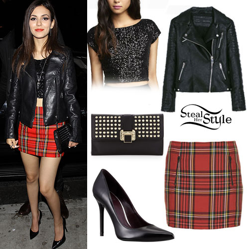Victoria Justice: Tartan Skirt, Leather Jacket | Steal Her Style
