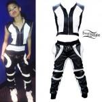Zendaya: Colorblock Leather Joggers & Vest