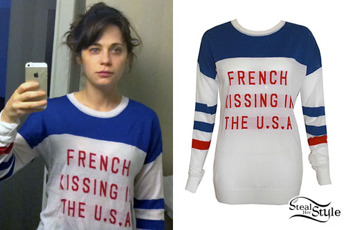 Zooey Deschanel: French Kissing Sweater