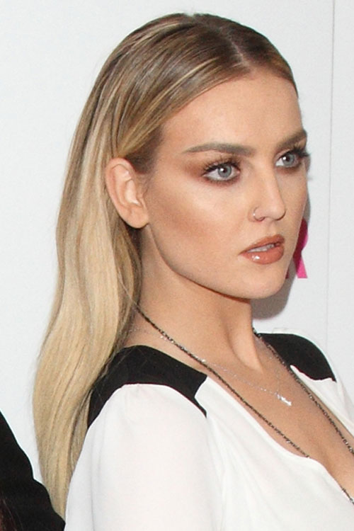 perrie edwards straight golden blonde dark roots hairstyle