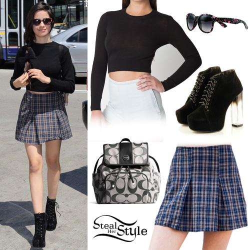 Camila Cabello: Crop Sweater, Tartan Skirt   Steal Her Style