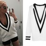 Alli Simpson: White & Black V-Neck Sweater