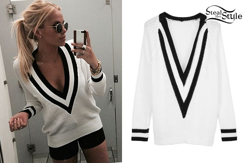 Alli Simpson: White & Black V-Neck Sweater