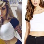 Allison Green: White & Black Raglan Crop Top