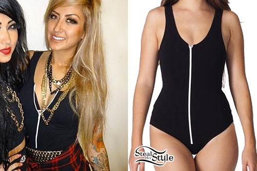 Allison Green: Black Zippered Bodysuit