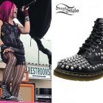 Ariel Bloomer: Black Spiked Dr Martens Boots