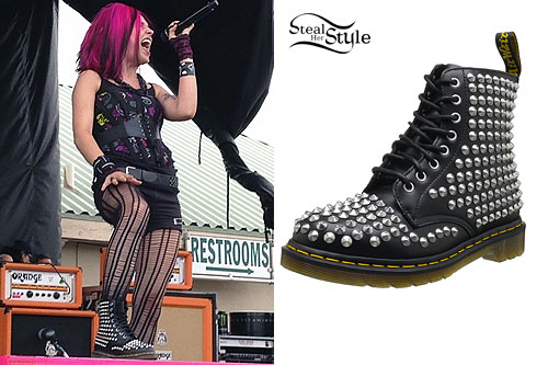 Ariel Bloomer: Black Spiked Dr Martens Boots