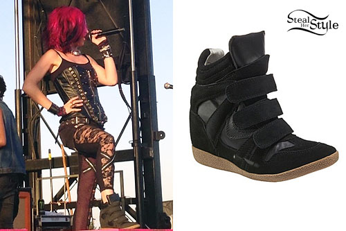 Ariel Bloomer: Black Velcro Wedge Sneakers
