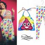 Azealia Banks: Poop Top, Cat Print Leggings