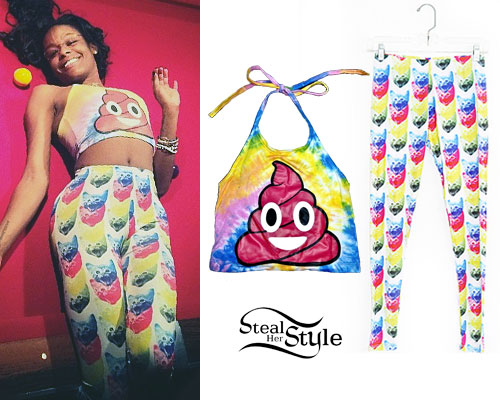Azealia Banks: Poop Top, Cat Print Leggings