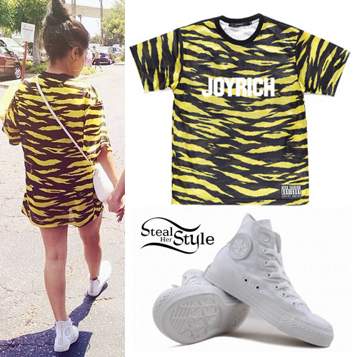 Becky G: Yellow Zebra Tee, White Converse