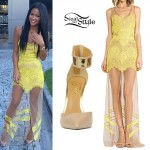 Cassie: Yellow Sheer Lace Maxi Dress
