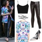 Cher Lloyd: Floral Blazer, Leather Pants